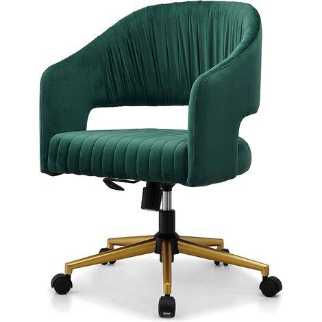 Cherry Tree Furniture Perce Velvet Swivel Desk Chair Green