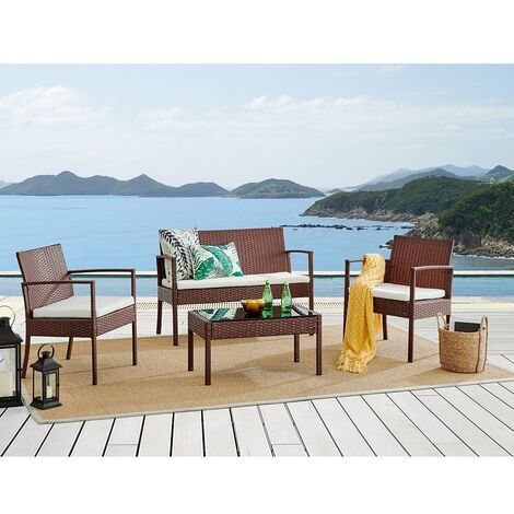 Cherry Tree Furniture Polperro 4 Seater Rattan Effect Sofa Set