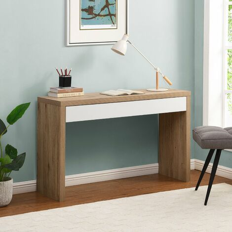 Cherry Tree Furniture Poppins Matt White Oak Effect Desk or Console Table with Drawer