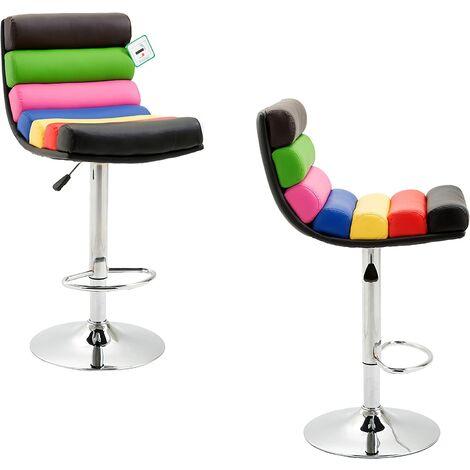 Cherry Tree Furniture Rainbow Faux Leather Chrome Base Height Adjustable Swivel Barstool Kitchen Stool (2 X, Multi-Colour)