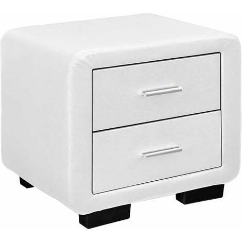Cherry Tree Furniture RANA Luxury Upholstered 2- Drawer Bedside Table Cabinet Nightstand (White PU)