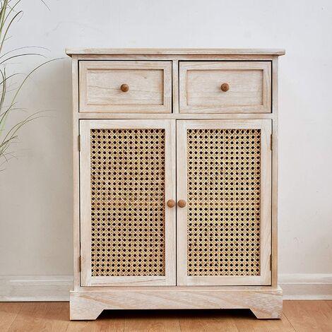 Cherry Tree Furniture REGA Rattan Cane & Paulownia Wood 2-Drawer 2-Door Cabinet Storage Sideboard