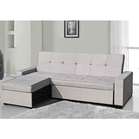 Cherry Tree Furniture SALM 3-Seater Sofa with Convertible Chaise (Grey Fabric)
