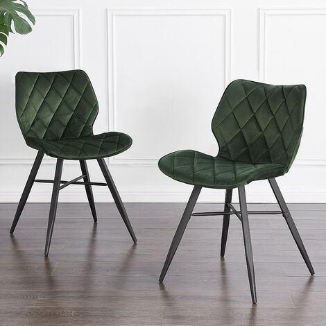 Cherry Tree Furniture Set of 2 Ampney Diamond Stitch Dark Green Velvet Dining Chair with Metal Legs