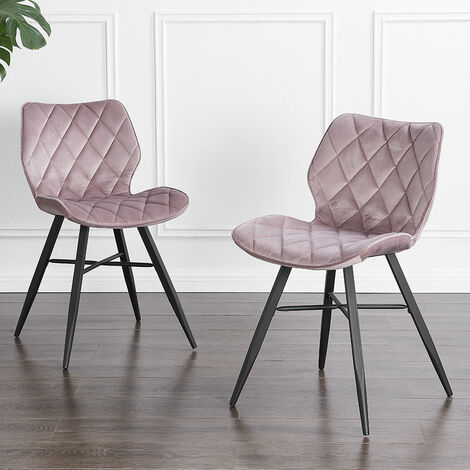 """main image of """"Cherry Tree Furniture Set of 2 Ampney Diamond Stitch Pink Pink Velvet Dining Chair with Metal Legs"""""""