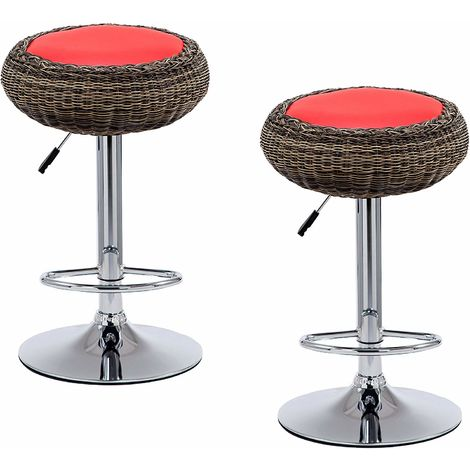Cherry Tree Furniture Set of 2 Rattan Wicker Red PU Leather High Bar Stools Kitchen Stools