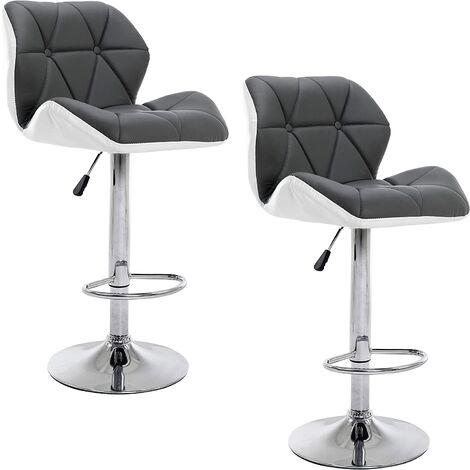 Cherry Tree Furniture SET OF 2 X Faux Leather Chrome Base Height Adjustable Swivel Barstool Kitchen Stool in Grey & White MB-209