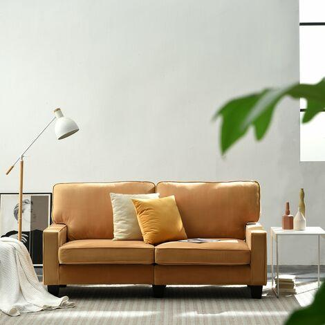 "main image of ""Cherry Tree Furniture Sherbrook 3 Seater Fabric Sofa in Mustard Velvet Fabric"""
