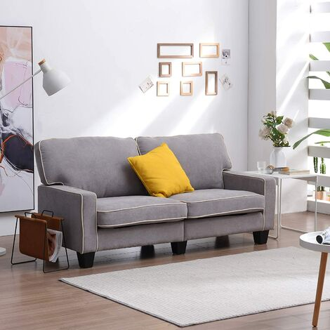 Cherry Tree Furniture Sherbrook Large 2 Seater Fabric Sofa with Contrasting Trim in Light Grey Fabric