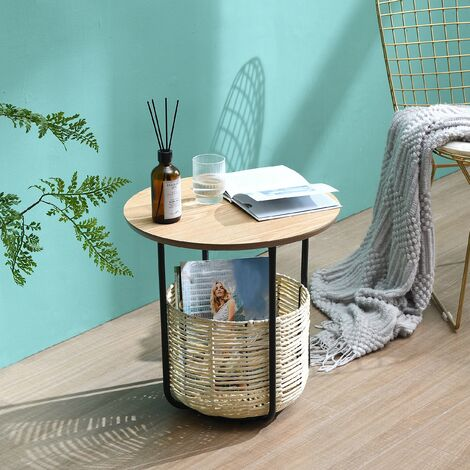 Cherry Tree Furniture Side Table with Woven Storage Basket