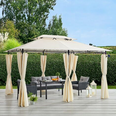 Cherry Tree Furniture St Lucia 3 x 4m Gazebo with Curtains Canopy Party Tent with 60pcs Solar LED Lights