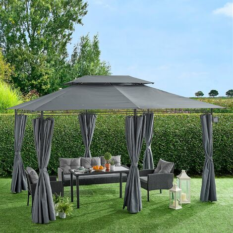 """main image of """"Cherry Tree Furniture St Lucia 3 x 4m Gazebo with Curtains Canopy Party Tent with 60pcs Solar LED Lights"""""""