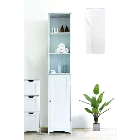 Cherry Tree Furniture Tallboy Free Standing Bathroom Cabinet Tall Storage Unit Cupboard