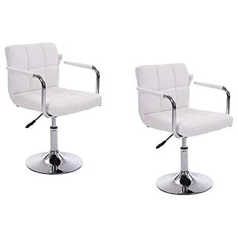 Cherry Tree Furniture White Faux Leather Swivel Chair with Removable Armrests MB42 (Style 1)