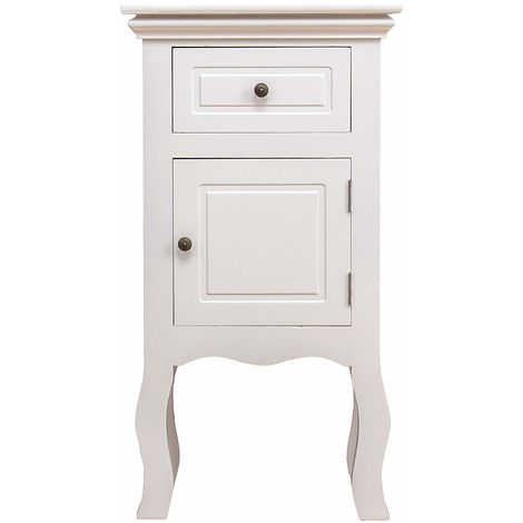 Cherry Tree Furniture Wood White 1-Door 1-Drawer Bedside Table Nightstand Cabinet