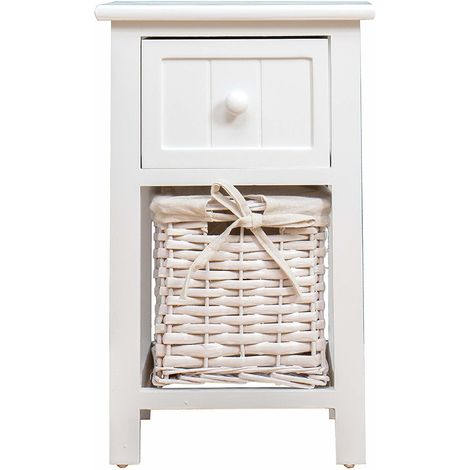 Cherry Tree Furniture Wood White Bedside Table with Drawer & 1 Wicker Basket Storage