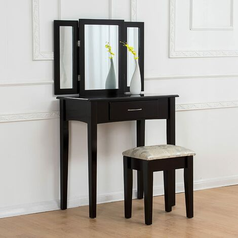 CherryTree Furniture Dressing Table 3 Way Mirrors Triple Mirror Makeup Dresser Set with Stool (Black)