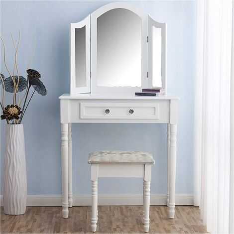 CherryTree Furniture Dressing Table 3 Way Mirrors Triple Mirror Makeup Dresser Set with Stool (White)