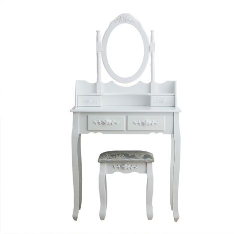 CherryTree Furniture Dressing Table 4-Drawer Makeup Dresser Set with Stool & Oval Mirror