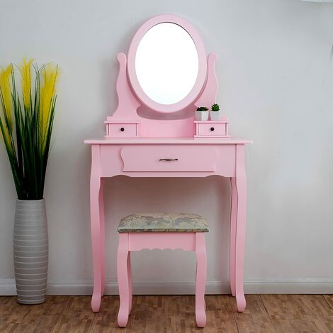 """main image of """"Dressing Table 3-Drawer with Stool & Oval Mirror"""""""