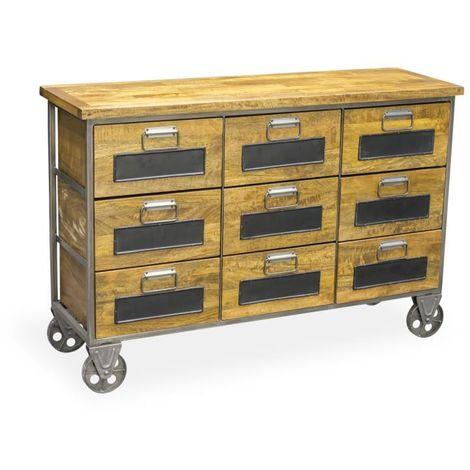 Chest Of 9 Storage Drawers Designer Wooden Furniture On Wheels In Black
