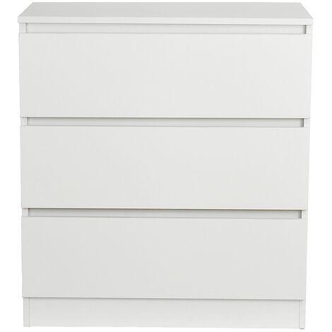 Chest of Drawers 3 Draws 70x40x77cm White Bedroom Furniture Hallway Storage Cabinet