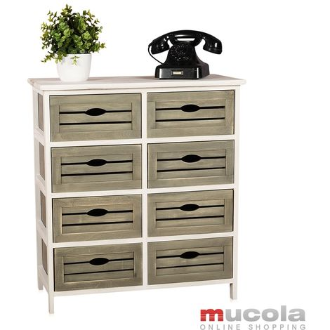 Chest of drawers in Shabby Design grey/white with 8 drawers Wooden shelf Sideboard antique