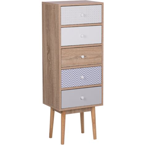 Chest of Drawers Light Wood and White FOLEY