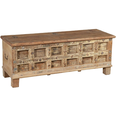 Chest, trunk, bench, container, case, antique original in teak wood carved with pickled finish