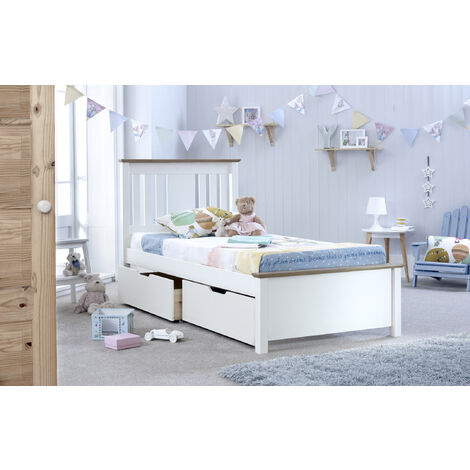 Chester Bed White Double With 2 Storage Drawers