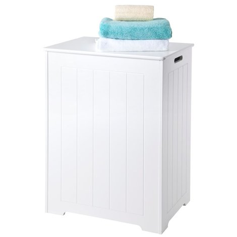 Chester Large Laundry Cabinet // 90+ Litre Capacity and Stay-up Hinges // White Scandinavian-inspired Storage for Bathroom and Bedroom