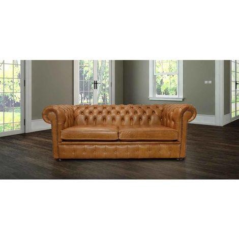 Chester Sofa 3 Seater Settee Old English Tan Leather Sofa Halo 2 Cushion