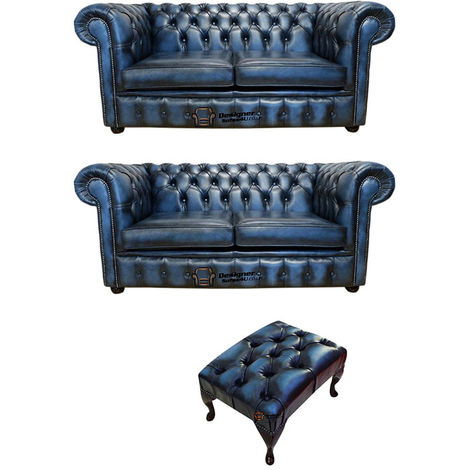 Chesterfield 2+2+footstool Leather Sofa Offer antique Blue leather