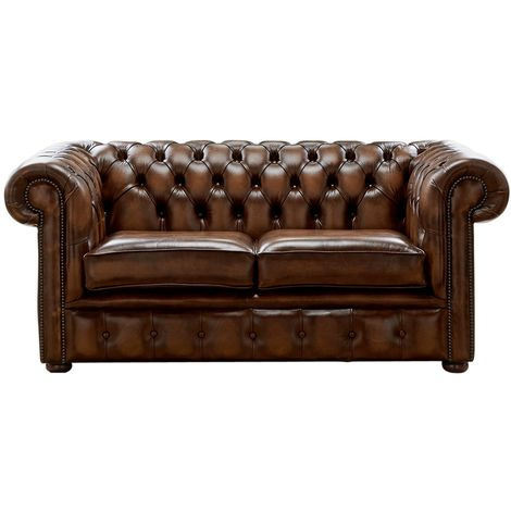 Chesterfield 2 Seater Antique Autumn Tan Leather Sofa Settee