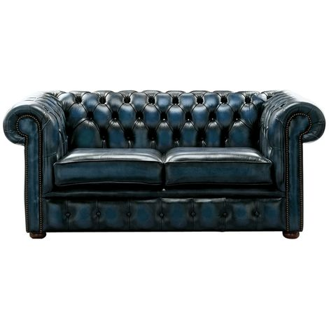 Chesterfield 2 Seater Antique Blue Leather Sofa Settee