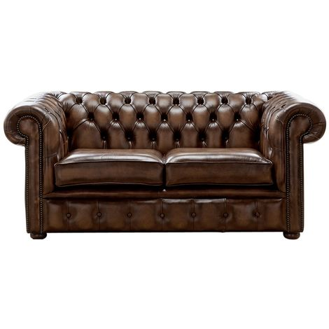 Chesterfield 2 Seater Antique Brown Leather Sofa Settee