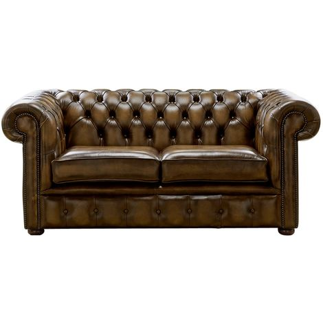 Chesterfield 2 Seater Antique Gold Leather Sofa Settee