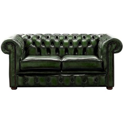 Chesterfield 2 Seater Antique Green Leather Sofa Settee