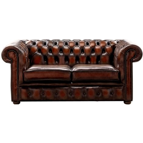 Chesterfield 2 Seater Antique Rust Leather Sofa Settee