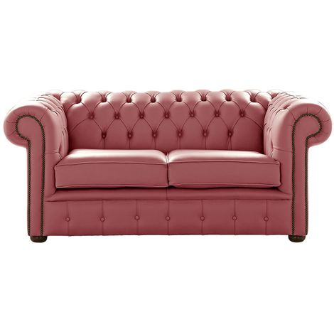 Chesterfield 2 Seater Brick Red Leather Sofa Settee