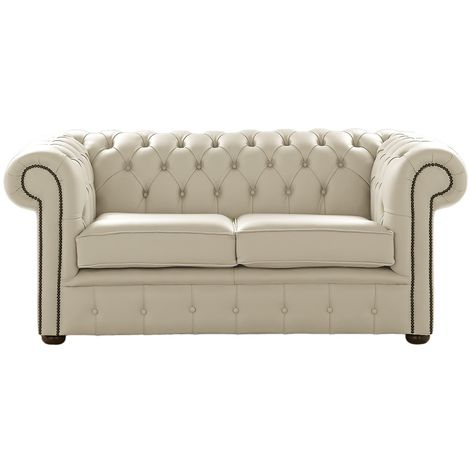 Chesterfield 2 Seater Cream Leather Sofa Settee