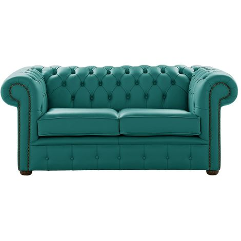 Chesterfield 2 Seater Dark Teal Leather Sofa Settee