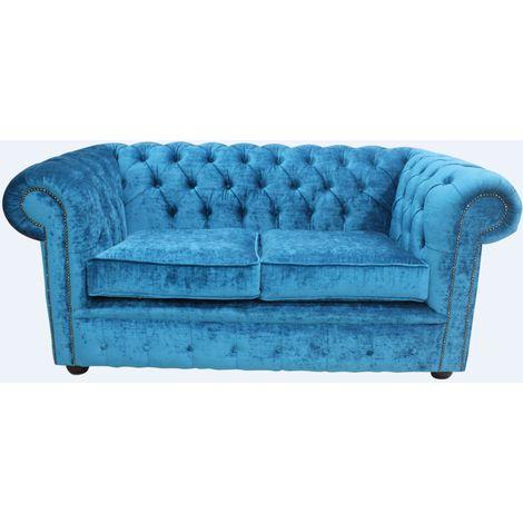 Chesterfield 2 Seater Settee Pastiche Teal Velvet Sofa Offer