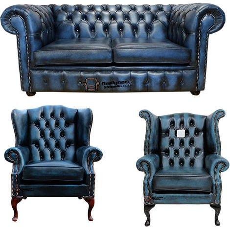 Chesterfield 2 Seater Sofa + 1 x Mallory Wing Chair + 1 x Queen Anne Wing Chair Leather Sofa Suite Offer Antique blue
