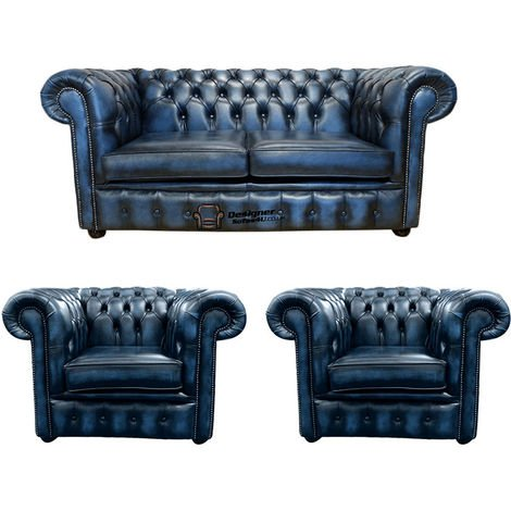 Chesterfield 2 Seater Sofa + 2 x Club Chairs Leather Sofa Suite Offer Antique blue