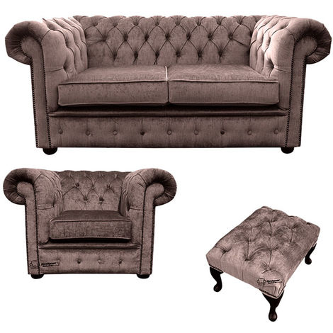 Chesterfield 2 Seater Sofa + Club Chair + Footstool Harmony Charcoal Velvet Sofa Suite Offer