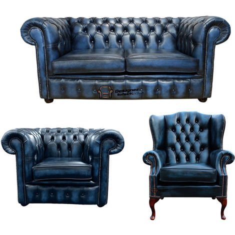 Chesterfield 2 Seater Sofa + Club Chair + Mallory Wing Chair Leather Sofa Suite Offer Antique blue