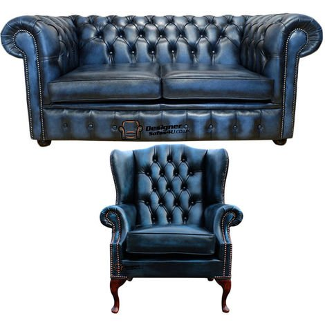 Chesterfield 2 Seater Sofa + Mallory Wing Chair Leather Sofa Suite Offer Antique Blue