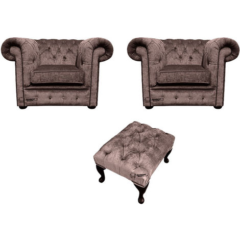 Chesterfield 2 x Club chairs + Footstool Harmony Charcoal Velvet Sofa Suite Offer