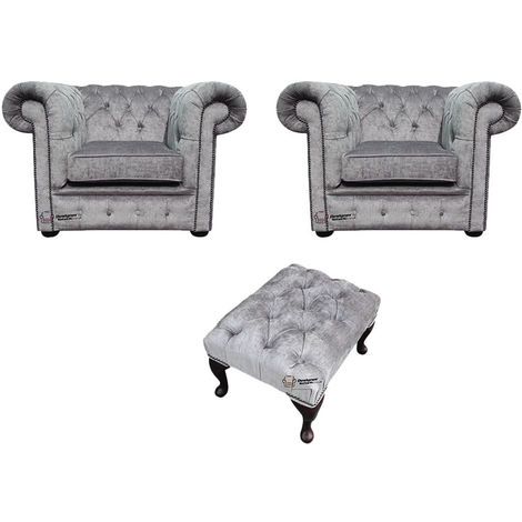 Chesterfield 2 x Club chairs + Footstool Perla Illusions Velvet Sofa Suite Offer